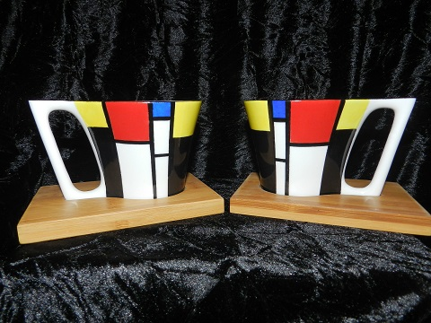 "Duo de tasses ""Bambou"" style MONDRIAN"